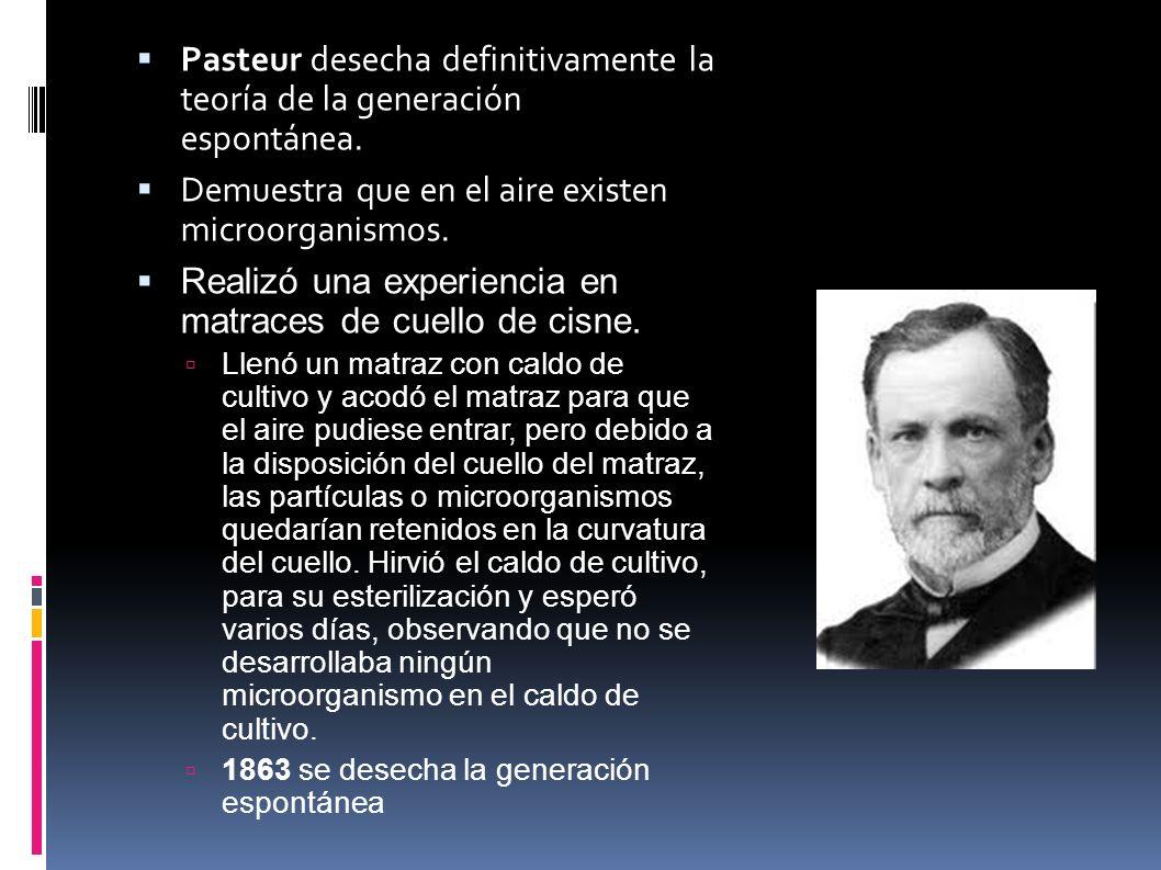 Pasteur desecha definitivamente la teoría de la generación espontánea.