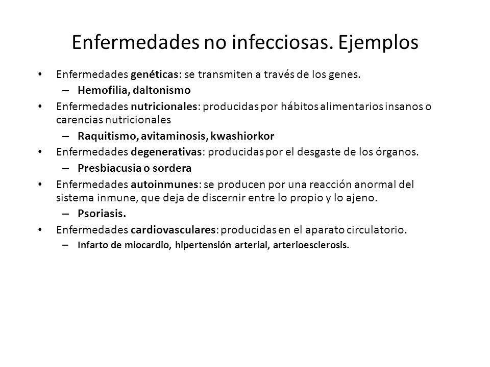 Enfermedades no infecciosas. Ejemplos
