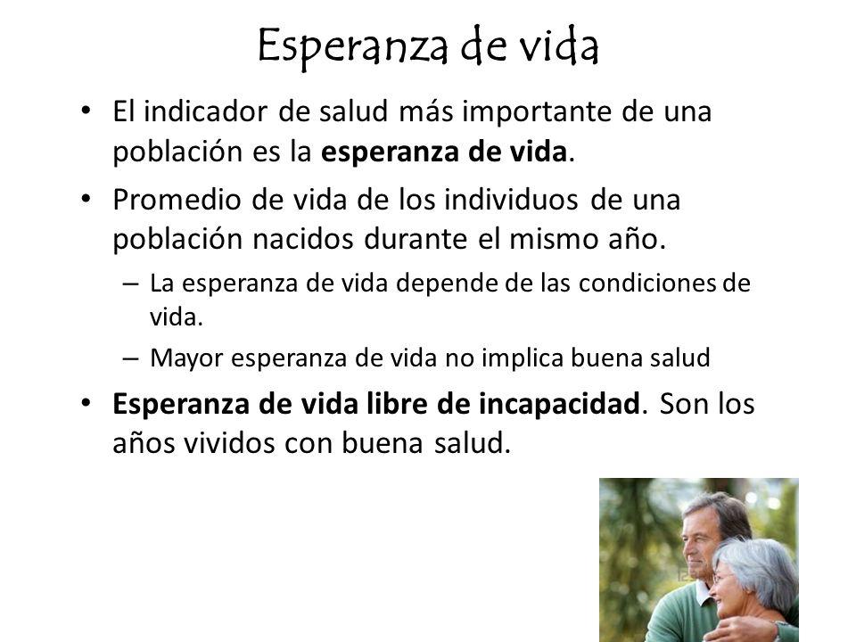 Esperanza de vida El indicador de salud más importante de una población es la esperanza de vida.