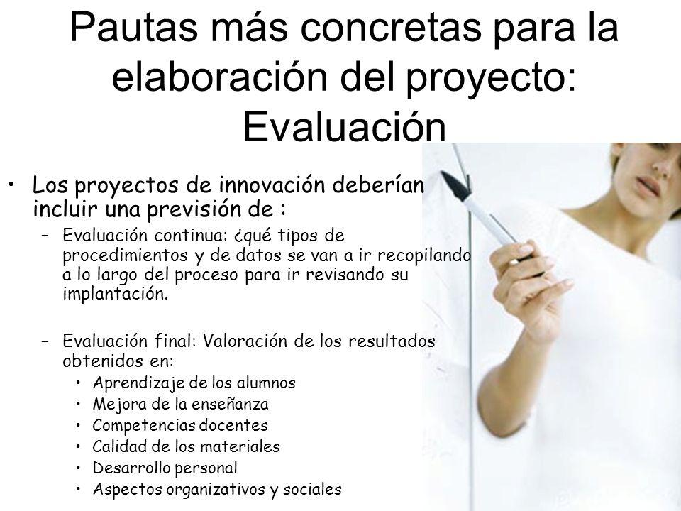 Pautas más concretas para la elaboración del proyecto: Evaluación