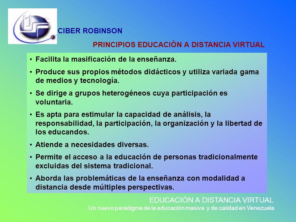 PRINCIPIOS EDUCACIÓN A DISTANCIA VIRTUAL