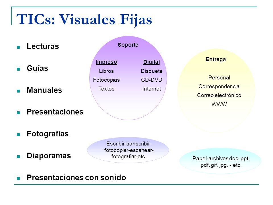 TICs: Visuales Fijas Lecturas Guías Manuales Presentaciones