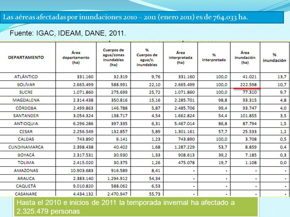 Las aéreas afectadas por inundaciones 2010 – 2011 (enero 2011) es de 764.033 ha.