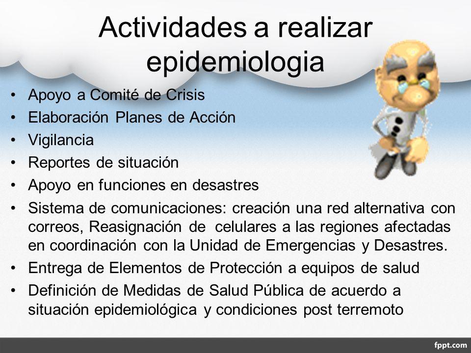 Actividades a realizar epidemiologia