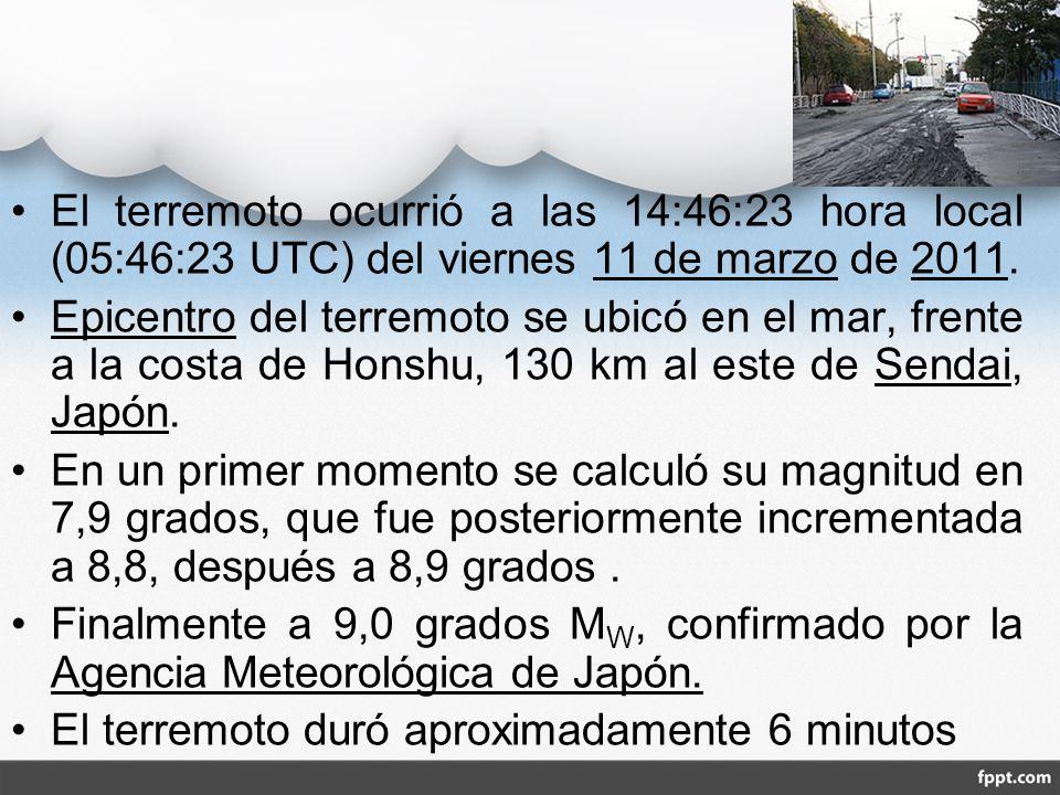 El terremoto ocurrió a las 14:46:23 hora local (05:46:23 UTC) del viernes 11 de marzo de 2011.