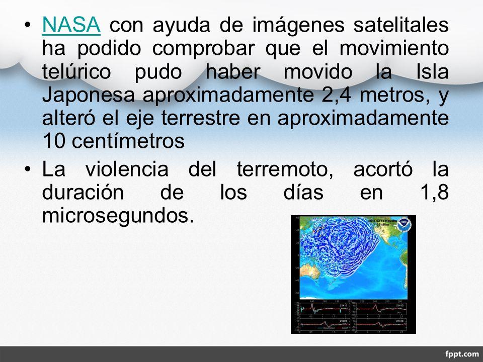 NASA con ayuda de imágenes satelitales ha podido comprobar que el movimiento telúrico pudo haber movido la Isla Japonesa aproximadamente 2,4 metros, y alteró el eje terrestre en aproximadamente 10 centímetros
