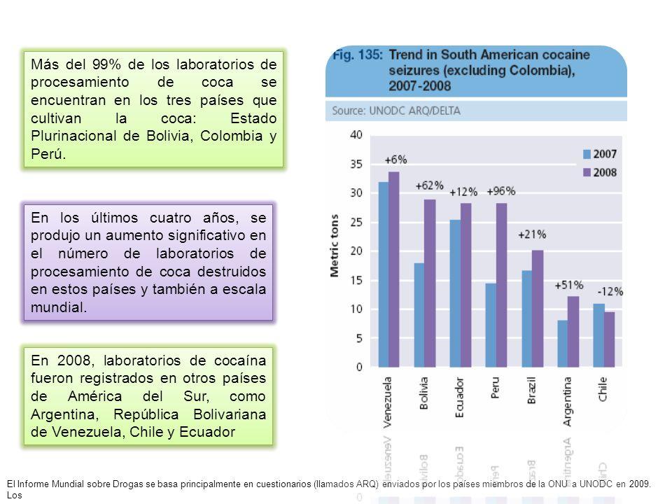 Más del 99% de los laboratorios de procesamiento de coca se encuentran en los tres países que cultivan la coca: Estado Plurinacional de Bolivia, Colombia y Perú.
