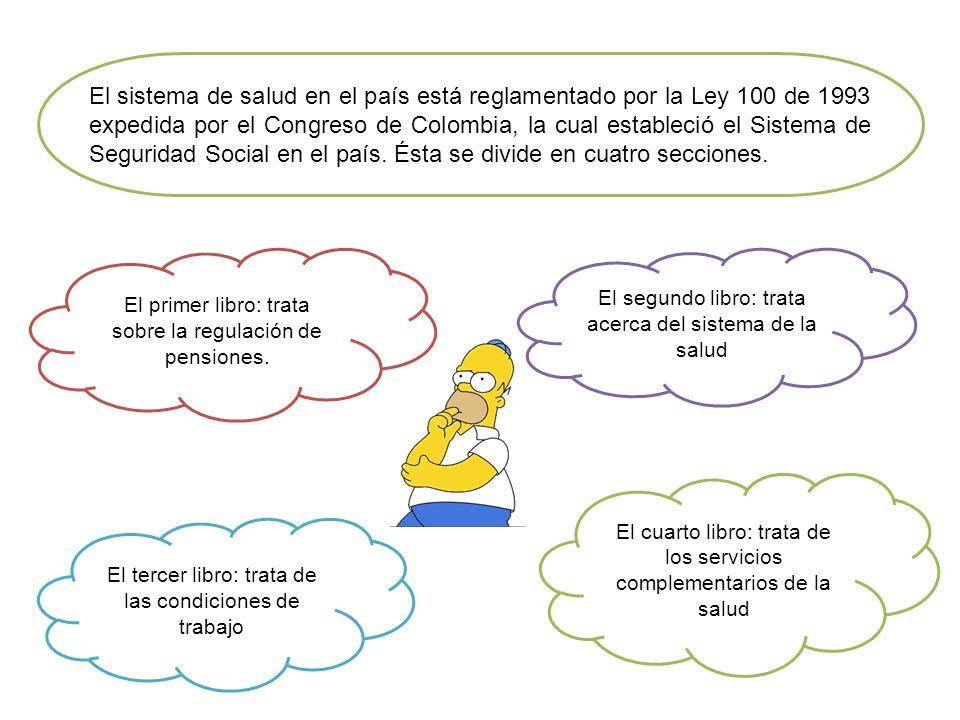 El sistema de salud en el país está reglamentado por la Ley 100 de 1993 expedida por el Congreso de Colombia, la cual estableció el Sistema de Seguridad Social en el país. Ésta se divide en cuatro secciones.