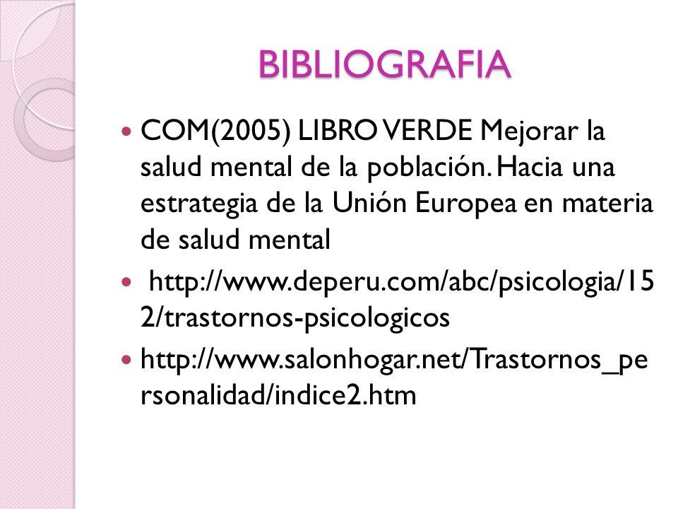 BIBLIOGRAFIA COM(2005) LIBRO VERDE Mejorar la salud mental de la población. Hacia una estrategia de la Unión Europea en materia de salud mental.