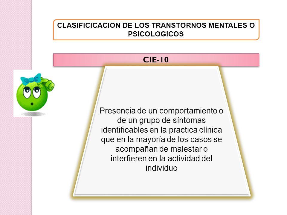 CLASIFICICACION DE LOS TRANSTORNOS MENTALES O PSICOLOGICOS