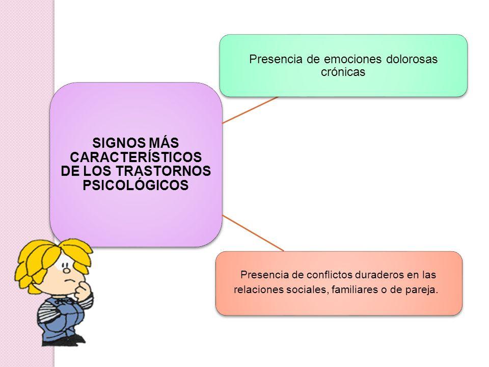 SIGNOS MÁS CARACTERÍSTICOS DE LOS TRASTORNOS PSICOLÓGICOS