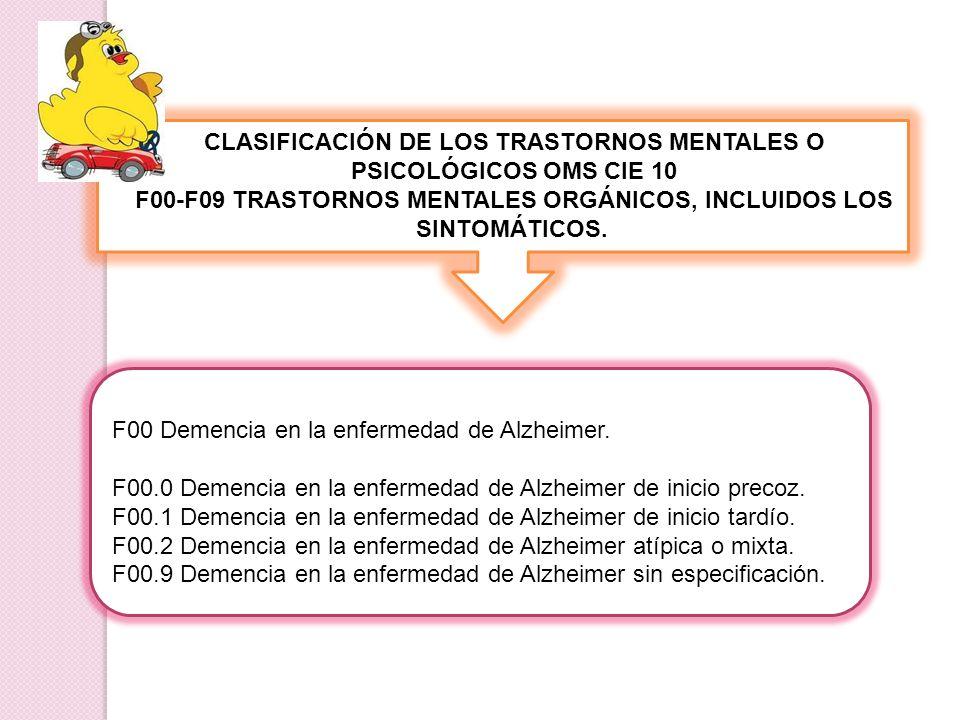 CLASIFICACIÓN DE LOS TRASTORNOS MENTALES O PSICOLÓGICOS OMS CIE 10