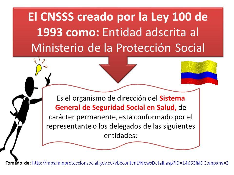 El CNSSS creado por la Ley 100 de 1993 como: Entidad adscrita al Ministerio de la Protección Social