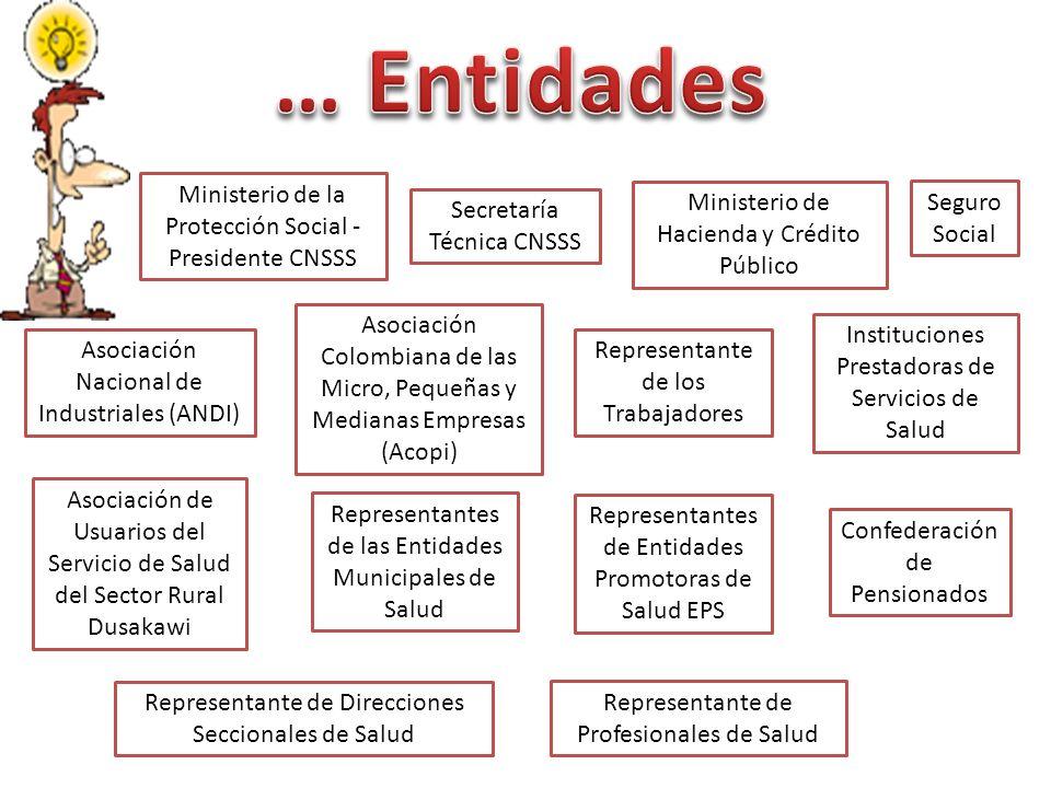 … Entidades Ministerio de la Protección Social - Presidente CNSSS