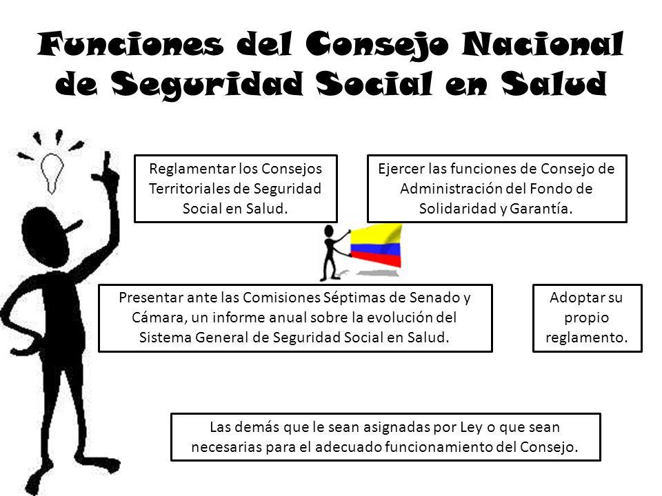 Funciones del Consejo Nacional de Seguridad Social en Salud