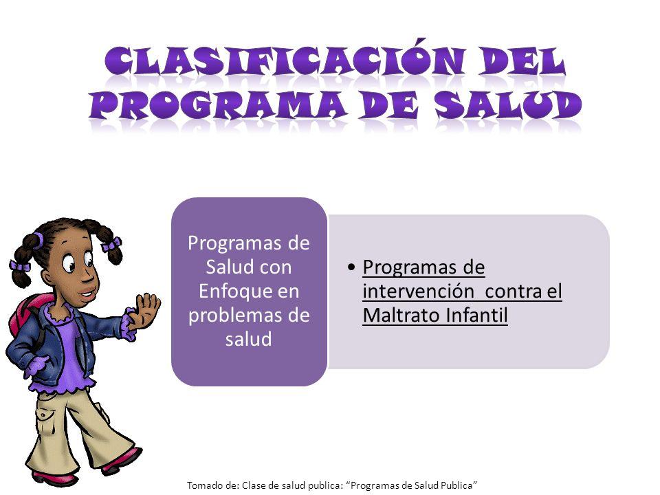 CLASIFICACIÓN DEL PROGRAMA DE SALUD