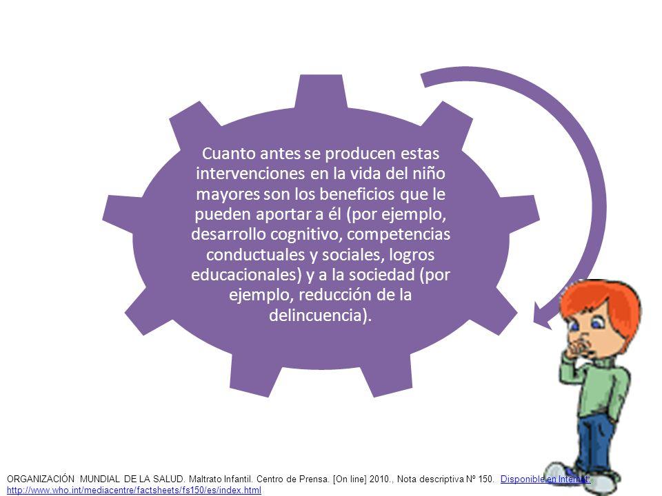 Cuanto antes se producen estas intervenciones en la vida del niño mayores son los beneficios que le pueden aportar a él (por ejemplo, desarrollo cognitivo, competencias conductuales y sociales, logros educacionales) y a la sociedad (por ejemplo, reducción de la delincuencia).