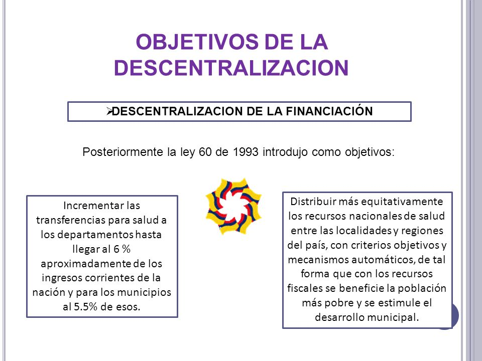 OBJETIVOS DE LA DESCENTRALIZACION DESCENTRALIZACION DE LA FINANCIACIÓN