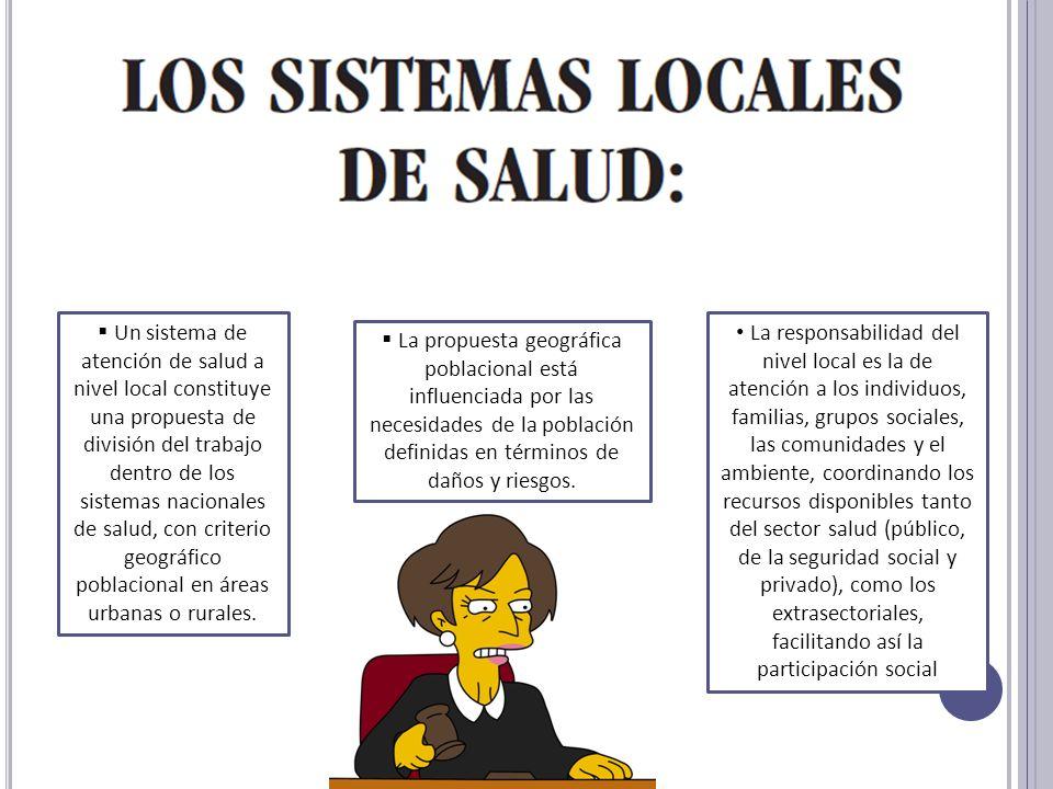Un sistema de atención de salud a nivel local constituye una propuesta de división del trabajo dentro de los sistemas nacionales de salud, con criterio geográfico poblacional en áreas urbanas o rurales.