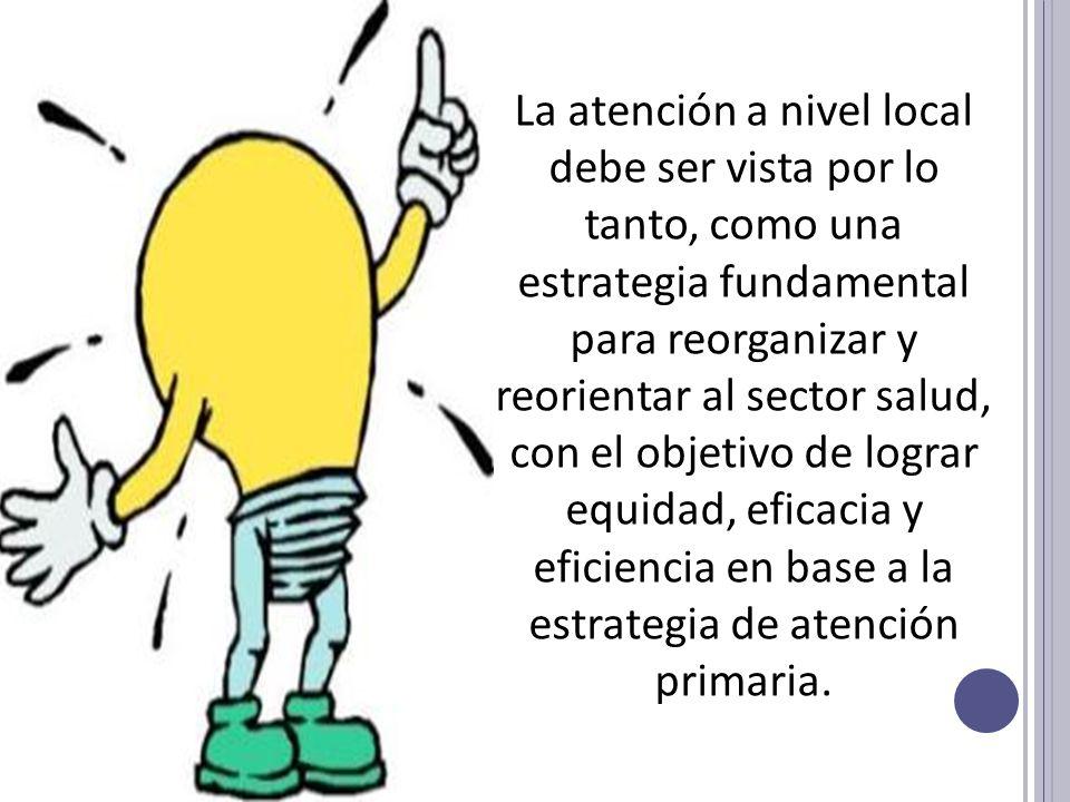 La atención a nivel local debe ser vista por lo tanto, como una estrategia fundamental para reorganizar y reorientar al sector salud, con el objetivo de lograr equidad, eficacia y eficiencia en base a la estrategia de atención primaria.