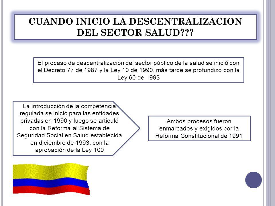 CUANDO INICIO LA DESCENTRALIZACION DEL SECTOR SALUD
