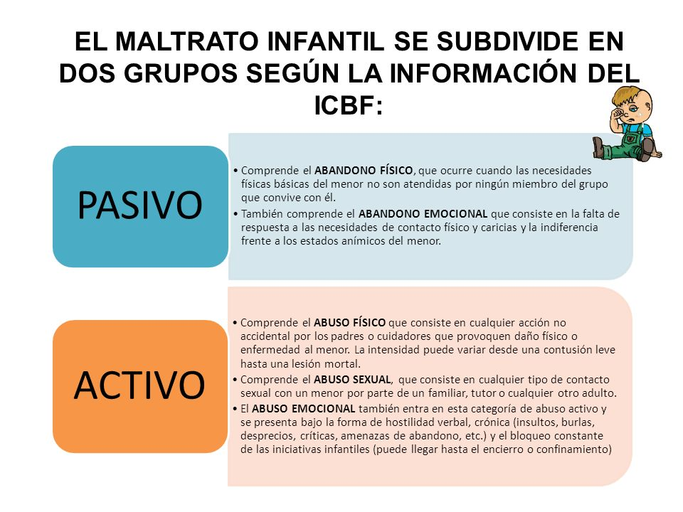 EL MALTRATO INFANTIL SE SUBDIVIDE EN DOS GRUPOS SEGÚN LA INFORMACIÓN DEL ICBF: