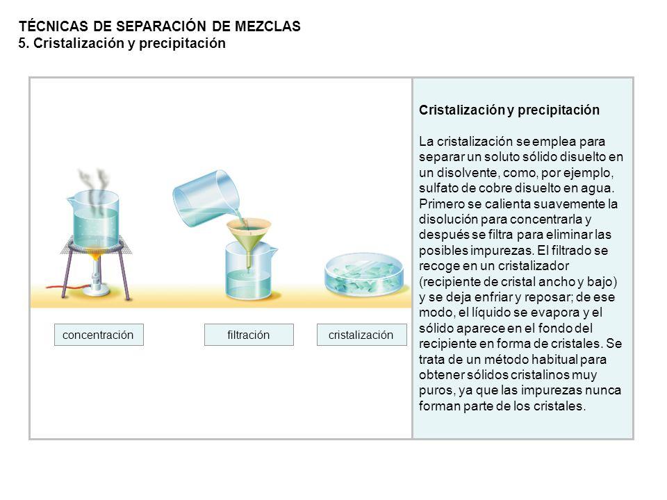 TÉCNICAS DE SEPARACIÓN DE MEZCLAS 5. Cristalización y precipitación