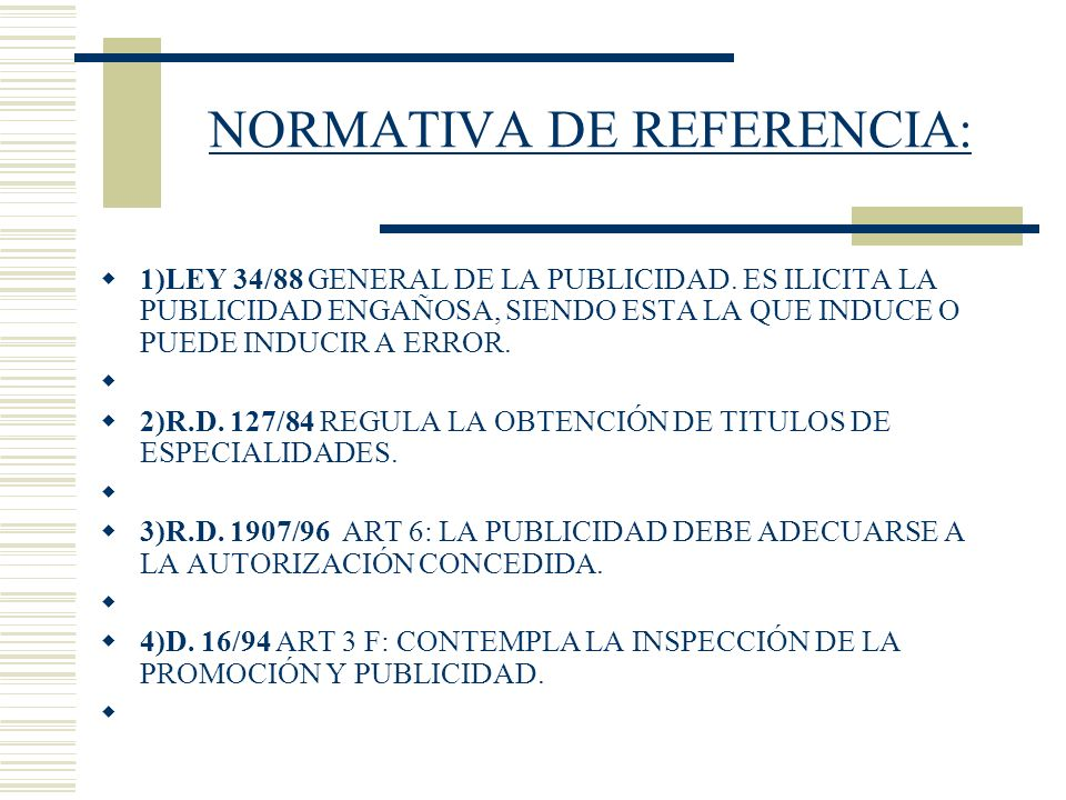 NORMATIVA DE REFERENCIA: