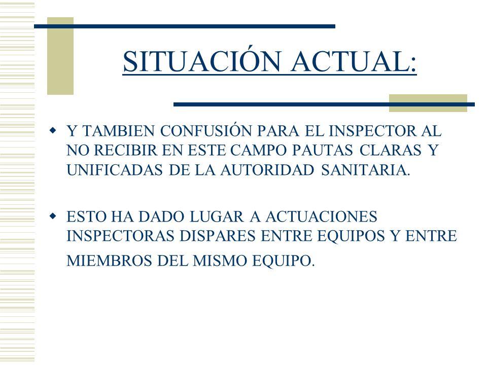 SITUACIÓN ACTUAL:Y TAMBIEN CONFUSIÓN PARA EL INSPECTOR AL NO RECIBIR EN ESTE CAMPO PAUTAS CLARAS Y UNIFICADAS DE LA AUTORIDAD SANITARIA.
