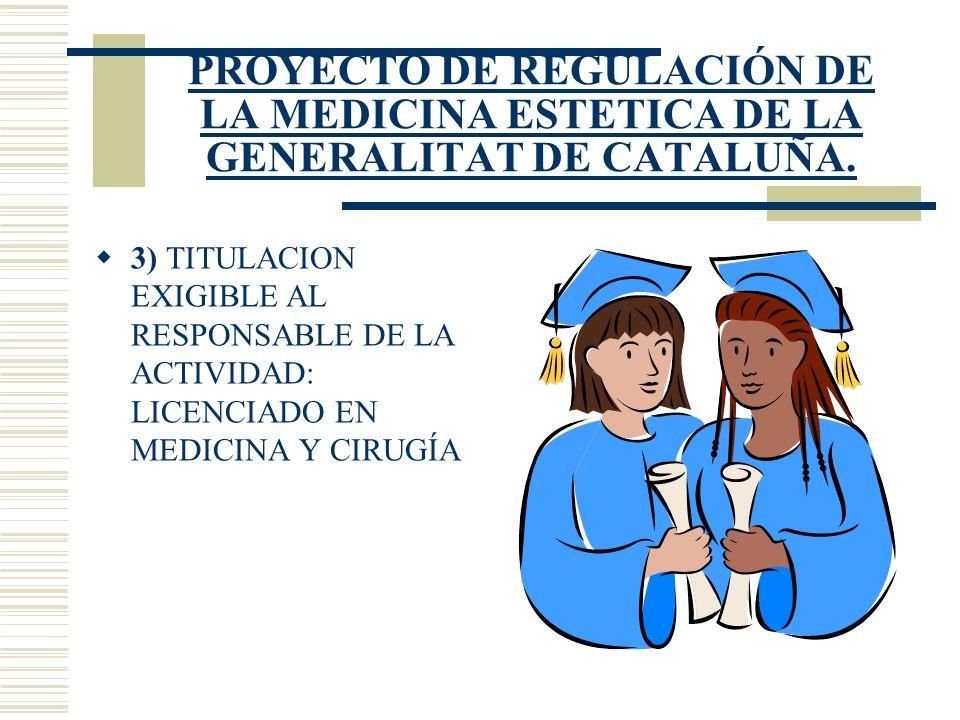 PROYECTO DE REGULACIÓN DE LA MEDICINA ESTETICA DE LA GENERALITAT DE CATALUÑA.