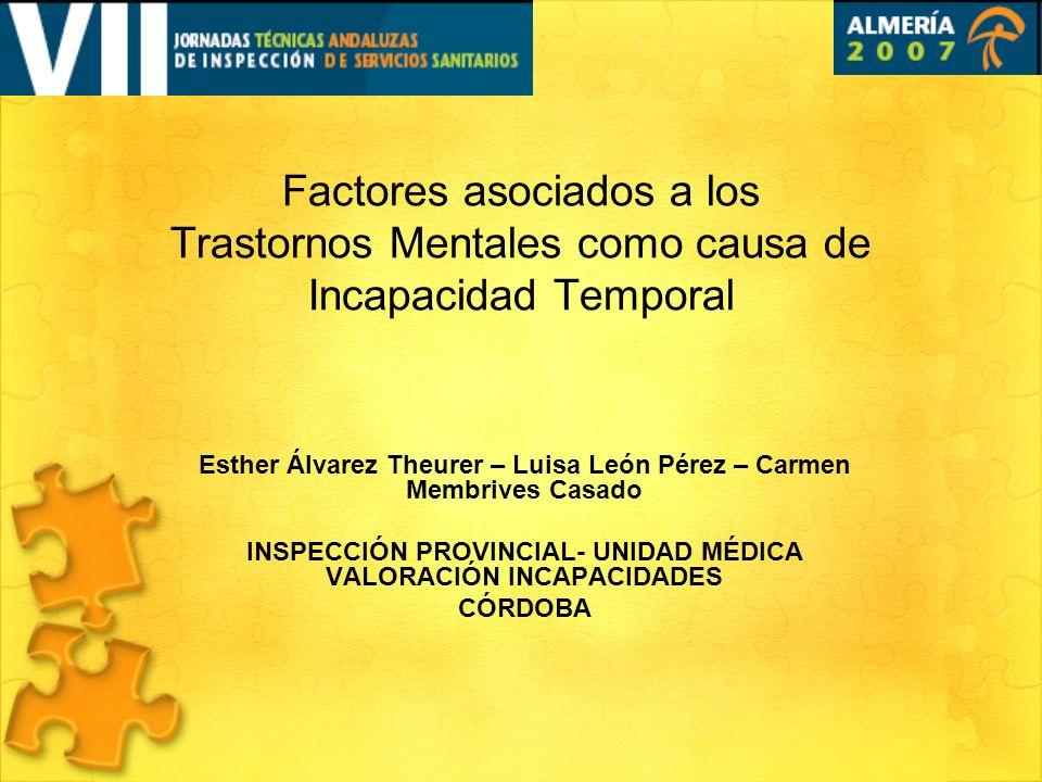 Factores asociados a los Trastornos Mentales como causa de Incapacidad Temporal