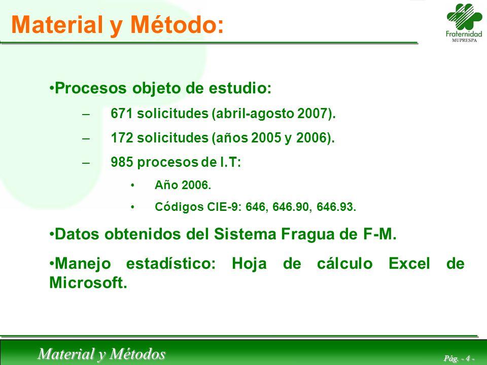 Material y Método: Procesos objeto de estudio: