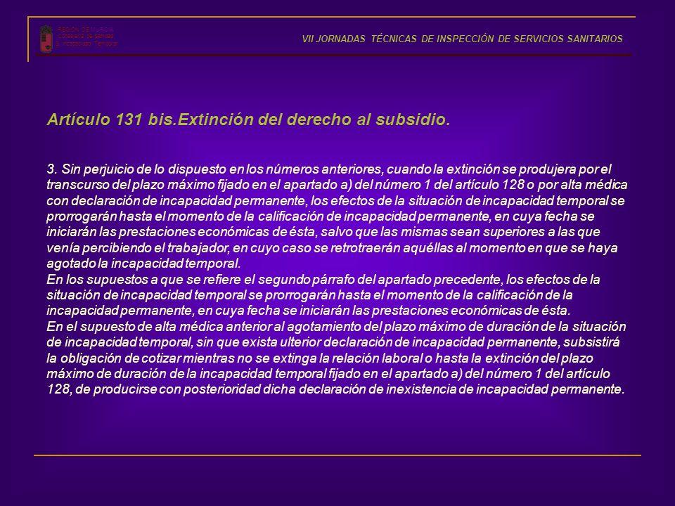 Artículo 131 bis.Extinción del derecho al subsidio.