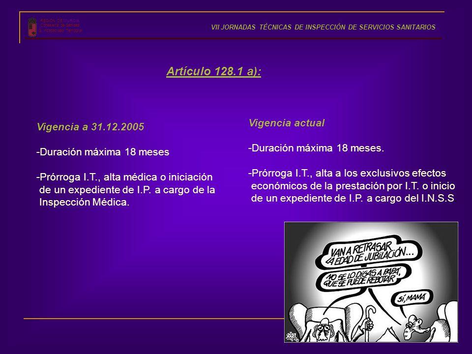 Artículo 128.1 a): Vigencia actual Vigencia a 31.12.2005