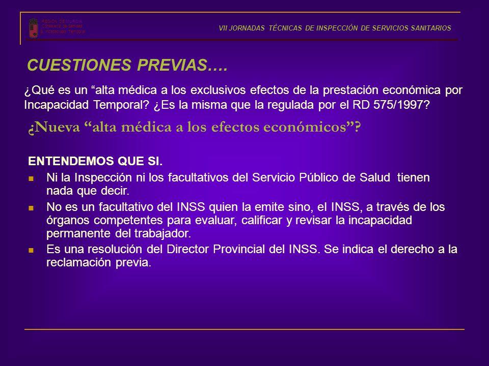 ¿Nueva alta médica a los efectos económicos