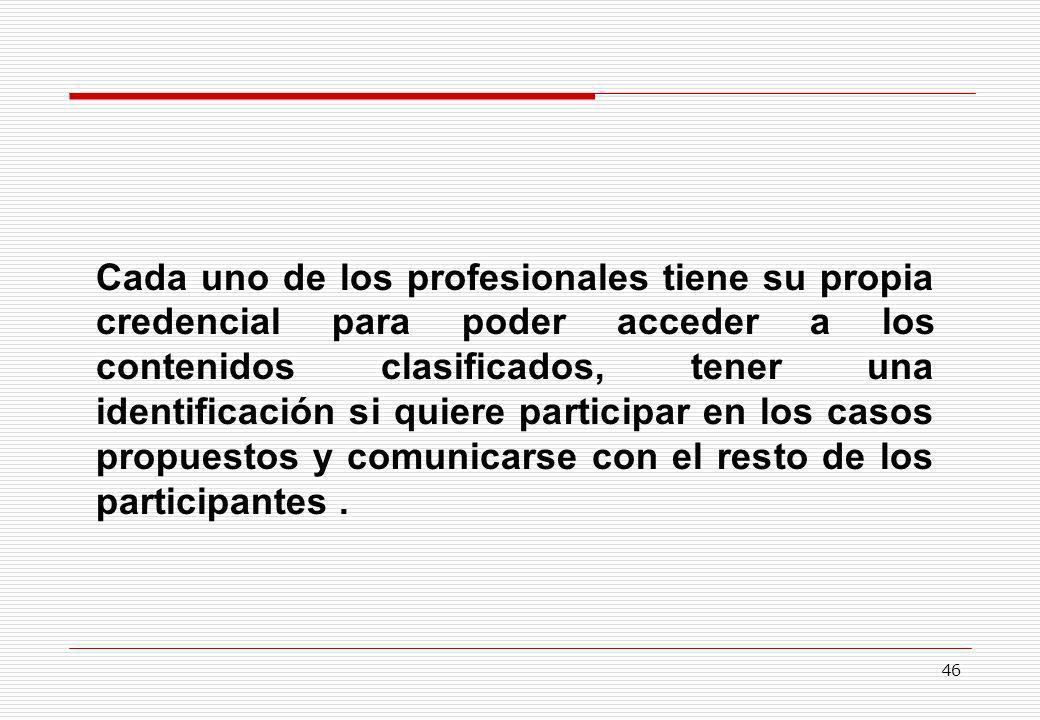Cada uno de los profesionales tiene su propia credencial para poder acceder a los contenidos clasificados, tener una identificación si quiere participar en los casos propuestos y comunicarse con el resto de los participantes .