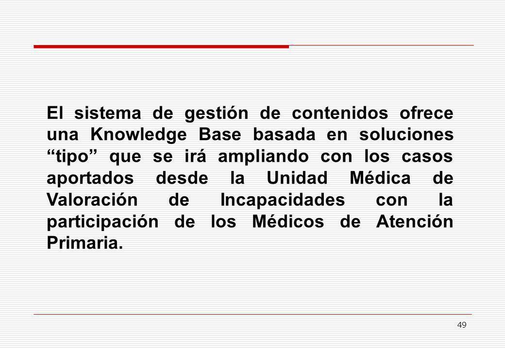 El sistema de gestión de contenidos ofrece una Knowledge Base basada en soluciones tipo que se irá ampliando con los casos aportados desde la Unidad Médica de Valoración de Incapacidades con la participación de los Médicos de Atención Primaria.