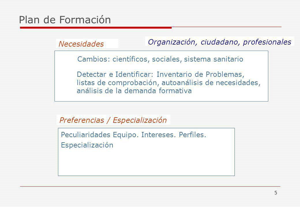 Plan de Formación Organización, ciudadano, profesionales Necesidades