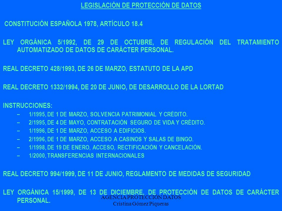 LEGISLACIÓN DE PROTECCIÓN DE DATOS