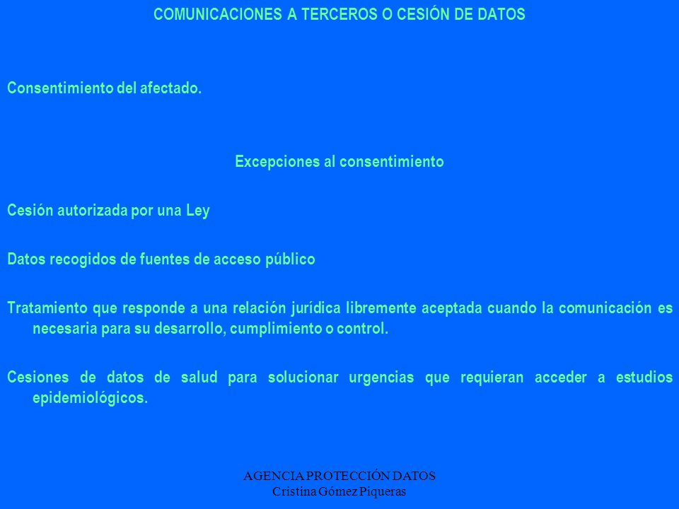 COMUNICACIONES A TERCEROS O CESIÓN DE DATOS