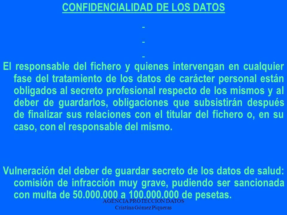 CONFIDENCIALIDAD DE LOS DATOS