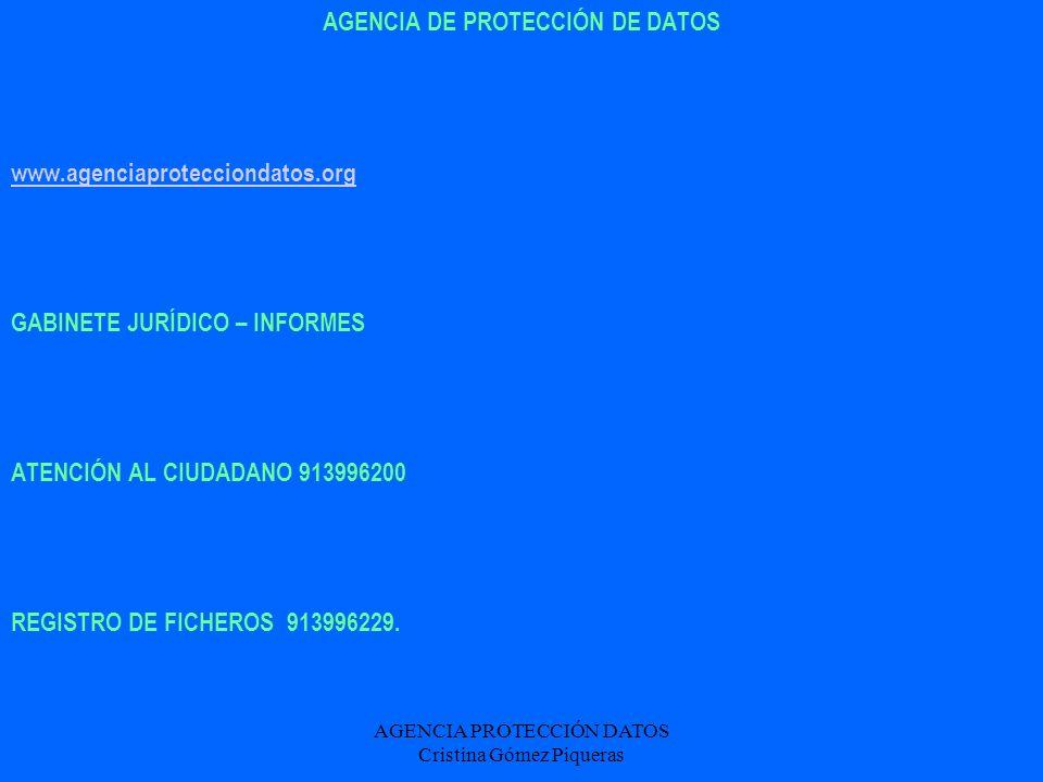 AGENCIA DE PROTECCIÓN DE DATOS
