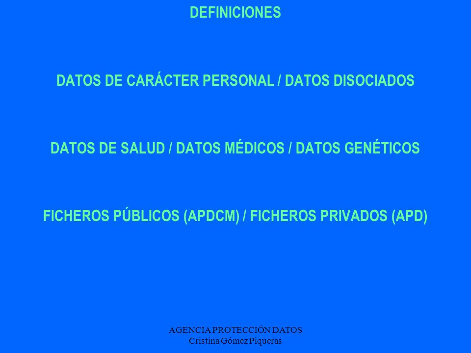 DATOS DE CARÁCTER PERSONAL / DATOS DISOCIADOS