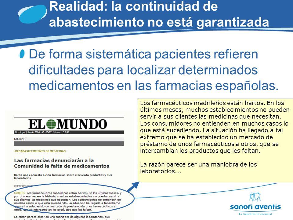 Realidad: la continuidad de abastecimiento no está garantizada