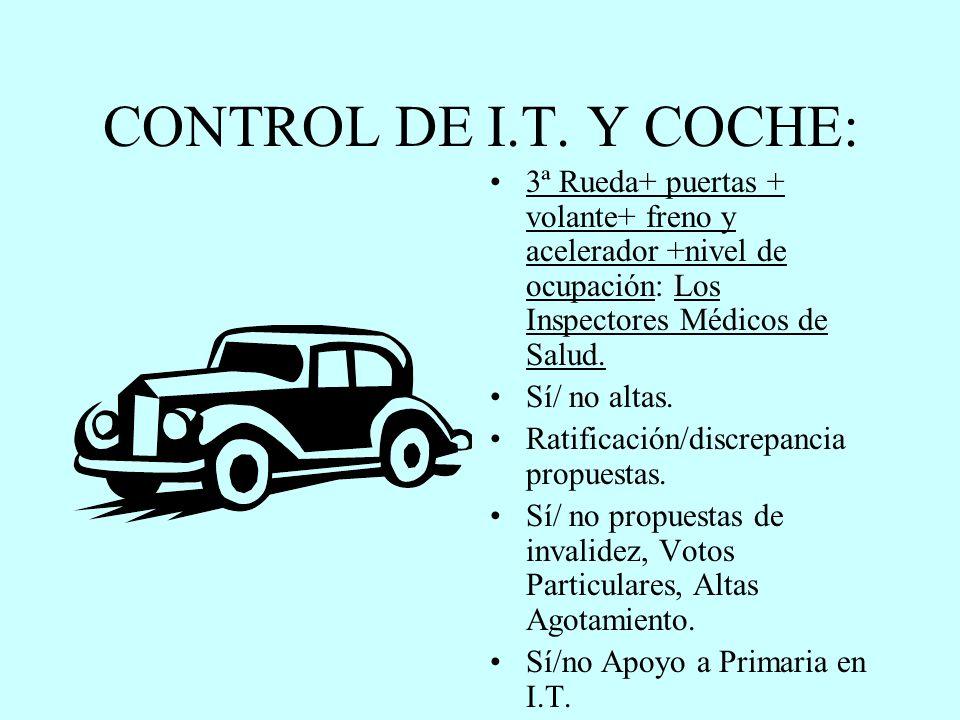 CONTROL DE I.T. Y COCHE: 3ª Rueda+ puertas + volante+ freno y acelerador +nivel de ocupación: Los Inspectores Médicos de Salud.