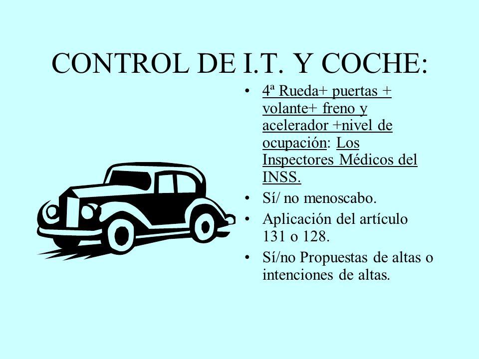 CONTROL DE I.T. Y COCHE: 4ª Rueda+ puertas + volante+ freno y acelerador +nivel de ocupación: Los Inspectores Médicos del INSS.