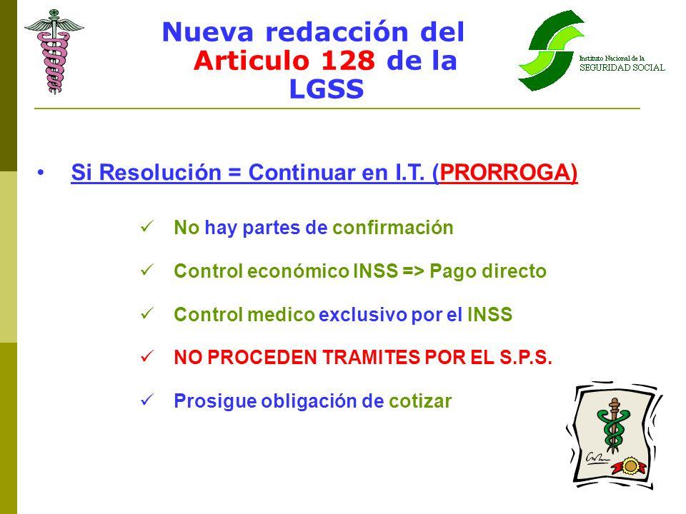 Nueva redacción del Articulo 128 de la LGSS