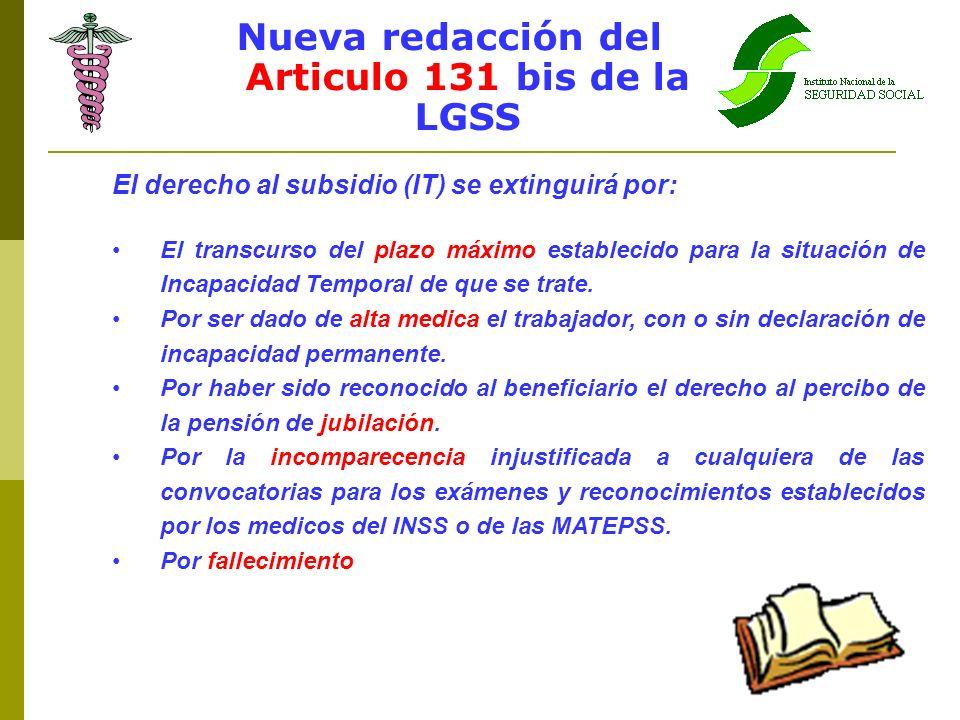 Nueva redacción del Articulo 131 bis de la LGSS