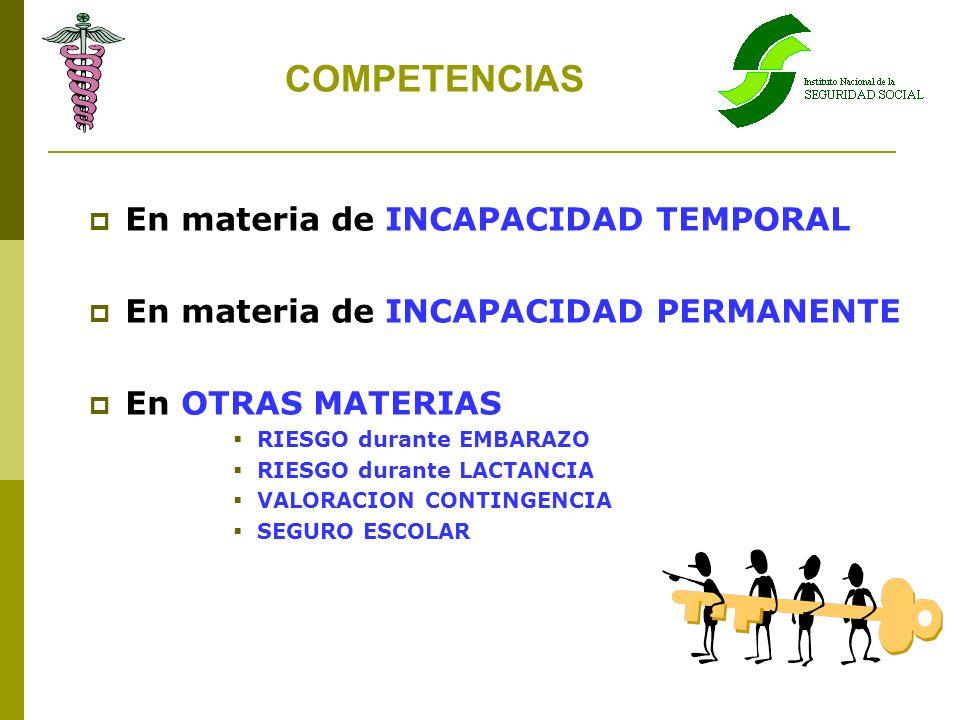 COMPETENCIAS En materia de INCAPACIDAD TEMPORAL