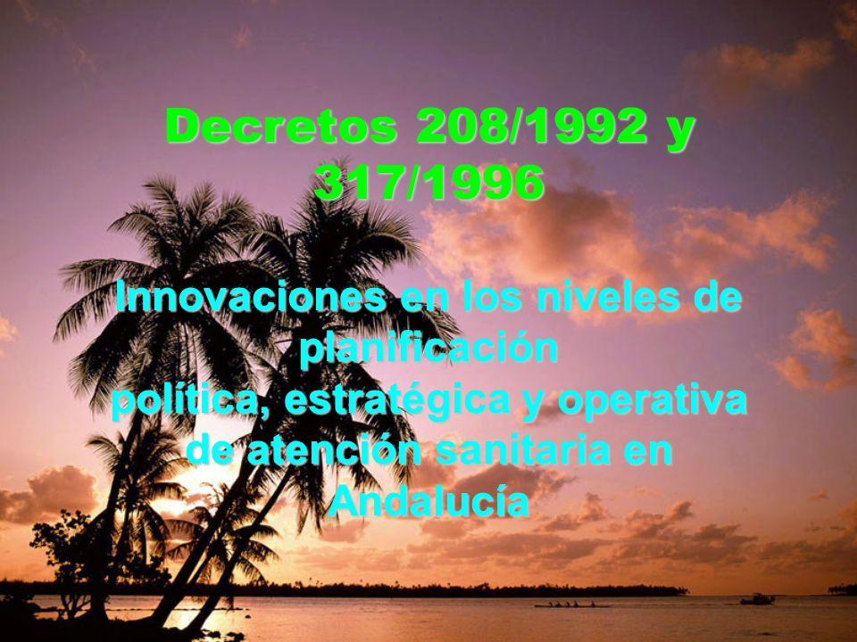 Decretos 208/1992 y 317/1996 Innovaciones en los niveles de planificación.